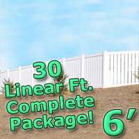 30 ft Complete Solid PVC Vinyl Semi-Privacy 6' Wide Fencing Package