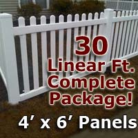 "30 ft Complete Solid PVC Vinyl Open Top Picket Fencing Package - 4' x 6' Fence Panels w/ 3"" Spacing"