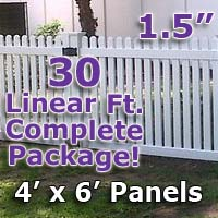 "30 ft Complete Solid PVC Vinyl Open Top Straight Picket Fencing Package - 4' x 6' Fence Panels w/ 1.5"" Spacing"