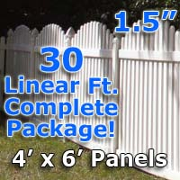 "30 ft Complete Solid PVC Vinyl Open Top Arch Picket Fencing Package - 4' x 6' Fence Panels w/ 1.5"" Spacing"