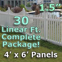 "30 ft Complete Solid PVC Vinyl Open Top Scallop Picket Fencing Package - 4' x 6' Fence Panels w/ 1.5"" Spacing"