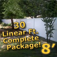 30 ft Complete Solid PVC Vinyl Privacy 8' Wide Fencing Package