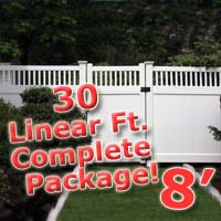 30 ft Complete Solid PVC Vinyl Privacy 8' Wide Fencing Package w/ Accent Top