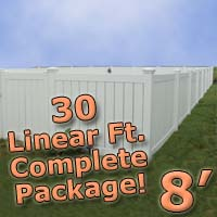 30 ft Complete Solid PVC Vinyl Semi-Privacy 8' Wide Fencing Package