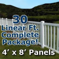 "30 ft Complete Solid PVC Vinyl Closed Top Picket Fencing Package - 4' x 8' Panels w/ 3"" Spacing"