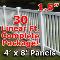 "30 ft Complete Solid PVC Vinyl Closed Top Picket Fencing Package - 4' x 8' Fence Panels w/ 1.5"" Spacing"