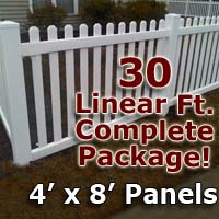 "30 ft Complete Solid PVC Vinyl Open Top Picket Fencing Package - 4' x 8' Fence Panels w/ 3"" Spacing"