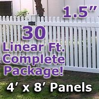 "30 ft Complete Solid PVC Vinyl Open Top Straight Picket Fencing Package - 4' x 8' Fence Panels w/ 1.5"" Spacing"
