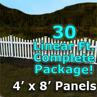 "30 ft Complete Solid PVC Vinyl Open Top Scallop Picket Fencing Package - 4' x 8' Fence Panels w/ 3"" Spacing"