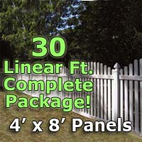 "30 ft Complete Solid PVC Vinyl Open Top Arched Picket Fencing Package - 4' x 8' Fence Panels w/ 3"" Spacing"