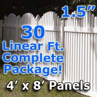 "30 ft Complete Solid PVC Vinyl Open Top Arch Picket Fencing Package - 4' x 8' Fence Panels w/ 1.5"" Spacing"