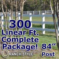 300 ft Complete Solid 3 Rail Ranch PVC Vinyl Fencing Package - Three Rail Fence
