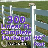 300 ft Complete Solid 4 Rail Ranch PVC Vinyl Fencing Package