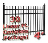 30 ft Complete Spear Top Residential Aluminum 4' High Fencing Package