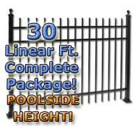"30 ft Complete Spear Top Residential Aluminum 54"" Pool Fencing Package"