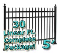 30 ft Complete Spear Top Residential Aluminum 5' High Fencing Package