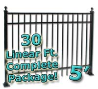 30 ft Complete Elegant Residential Aluminum 5' High Fencing Package