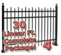 30 ft Complete Staggered Pickets Residential Aluminum 4' High Fencing Package