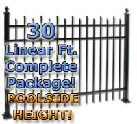 "30 ft Complete Staggered Pickets Residential Aluminum 54"" Pool Fencing Package"