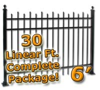 30 ft Complete Staggered Pickets Residential Aluminum 6' High Fencing Package