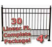 30 ft Complete Puppy Panel Residential Aluminum 4' High Fencing Package