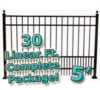30 ft Complete Puppy Panel Residential Aluminum 5' High Fencing Package