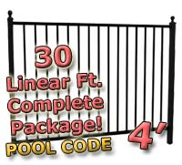 30 ft Complete Pool Code Residential Aluminum 4' High Fencing Package