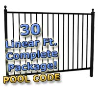 "30 ft Complete Pool Code Residential Aluminum 54"" High Fencing Package"