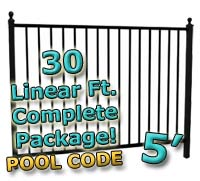 30 ft Complete Pool Code Residential Aluminum 5' High Fencing Package