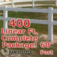400 ft Complete Solid 2 Rail Ranch PVC Vinyl Fencing Package - Two Rail Fence