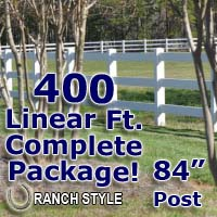 400 ft Complete Solid 3 Rail Ranch PVC Vinyl Fencing Package - Three Rail Fence