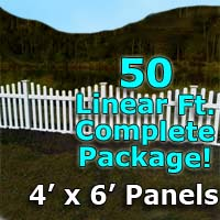"50 ft Complete Solid PVC Vinyl Open Top Scallop Picket Fencing Package - 4' x 6' Fence Panels w/ 3"" Spacing"