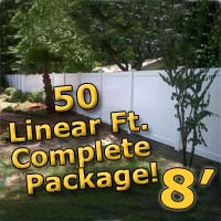 50 ft Complete Solid PVC Vinyl Privacy 8' Wide Fencing Package