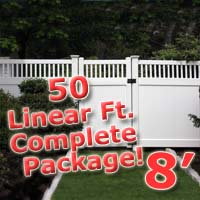 50 ft Complete Solid PVC Vinyl Privacy 8' Wide Fencing Package w/ Accent Top