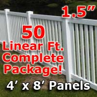 "50 ft Complete Solid PVC Vinyl Closed Top Picket Fencing Package - 4' x 8' Fence Panels w/ 1.5"" Spacing"