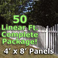 "50 ft Complete Solid PVC Vinyl Open Top Arched Picket Fencing Package - 4' x 8' Fence Panels w/ 3"" Spacing"