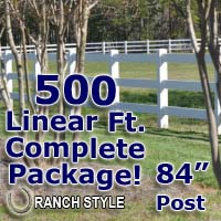 500 ft Complete Solid 3 Rail Ranch PVC Vinyl Fencing Package - Three Rail Fence
