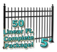 50 ft Complete Spear Top Residential Aluminum 5' High Fencing Package