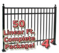 50 ft Complete Elegant Residential Aluminum 4' High Fencing Package