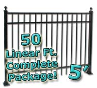 50 ft Complete Elegant Residential Aluminum 5' High Fencing Package