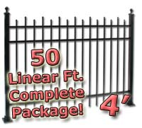 50 ft Complete Staggered Pickets Residential Aluminum 4' High Fencing Package