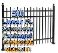 "50 ft Complete Staggered Pickets Residential Aluminum 54"" Pool Fencing Package"