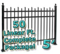 50 ft Complete Staggered Pickets Residential Aluminum 5' High Fencing Package