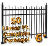 50 ft Complete Staggered Pickets Residential Aluminum 6' High Fencing Package