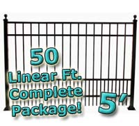 50 ft Complete Puppy Panel Residential Aluminum 5' High Fencing Package