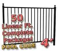 50 ft Complete Pool Code Residential Aluminum 4' High Fencing Package