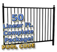 "50 ft Complete Pool Code Residential Aluminum 54"" High Fencing Package"