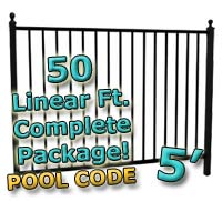 50 ft Complete Pool Code Residential Aluminum 5' High Fencing Package