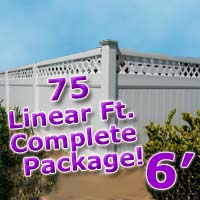 75 ft Complete Solid PVC Vinyl Privacy 6' Wide Fencing Package w/ Accent Top
