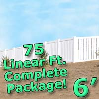 75 ft Complete Solid PVC Vinyl Semi-Privacy 6' Wide Fencing Package